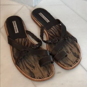 Manolo Blahnik flat woven sandals brown 39.5